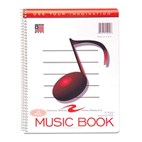 "Music Notebook 11"" X 8.5"", 12 Stave"