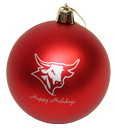 Dark Red Ornament With Bull Logo In Silver