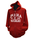 "Cardinal Hooded Sweatshirt With ""Omaha Mavericks"" - Full Zip"