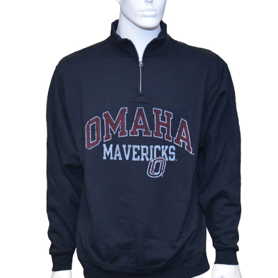 "Black 1/4 Zip Sweatshirt ""Omaha Mavericks"" - Russell"
