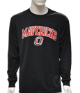 "Black Long Sleeved T-Shirt Mavericks Arched Over ""O"""