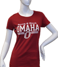 "Women's Cardinal Tshirt ""University Of Nebraska/Omaha/O"" W/ Sparkle"