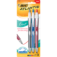 Bic Atlantis Exact Retractable Ballpoint Pen, 3 pack
