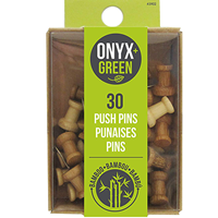 Onyx & Green Push Pins, 30 Count