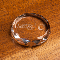 Optic Crystal Faceted Paperweight